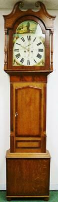 Antique English  Carlisle Longcase Grandfather Clock 19thC Oak & Mahogany 8 Day
