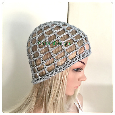 HANDMADE Summer Cotton Womens Grey teen Beanie hat crochet knit spring lace mesh