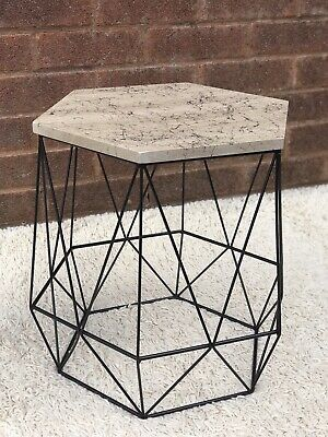 Hexagon - Side Table - Black legs with Black Marble effect top