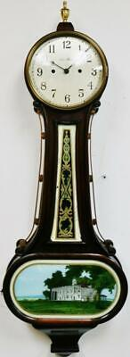 Antique American 30 Day Mahogany & Painted Glass Banjo Wall Clock By New Haven