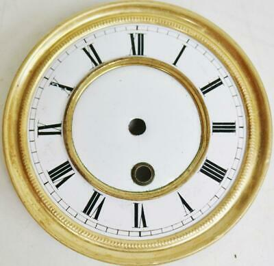 Antique French Timepiece Enamel Wall Clock Dial & Bezel, Clock Spares Or Repair