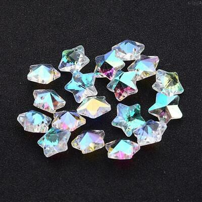 Clear AB 13mm Crystal Star Beads, 10 Loose Beads, S5AB