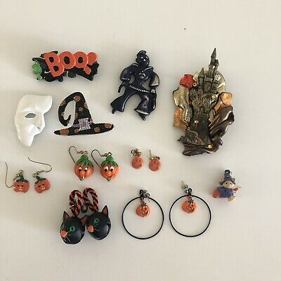 (10) Halloween Pin Brooch Earrings Lot Pumpkin Witch Clown Scary JJ Vintage Cute