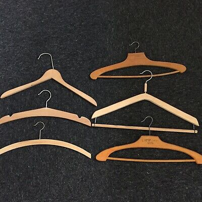 Selection Of 6 French Vintage Wooden Trouser Hangers / Coat Hangers