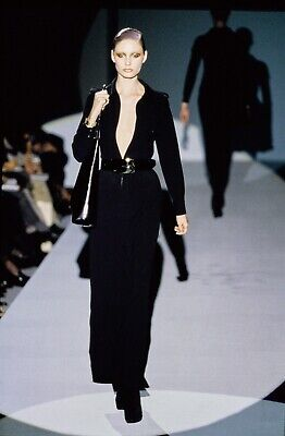 Gucci by Tom Ford FW/96 1996 Runway Iconic Black Wool Long Sleeved Dress -