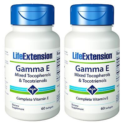 Life Extension Gamma E Mixed Tocopherols & Tocotrienols 60 Softgels (Pack of 2)
