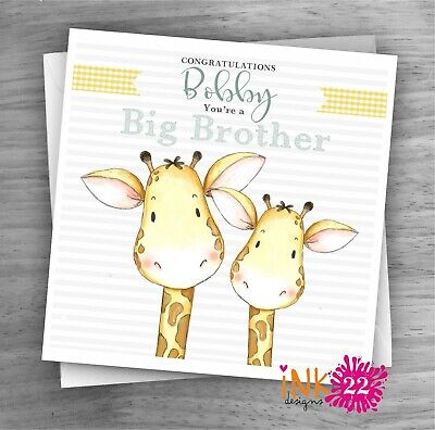 Personalised badge card New Big Brother Big sister New baby congratulations