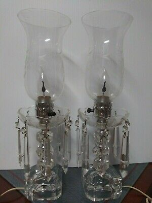 Pair Crystal lamp Mantle Luster Clear grape cut hurricane shades with cut prisms