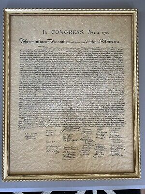 Declaration of Independence Reprint / Replica In Frame