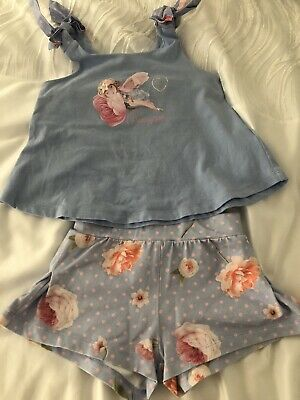 Girls Lapin House Baby Blue & Pink Top And Shorts Set Age 5