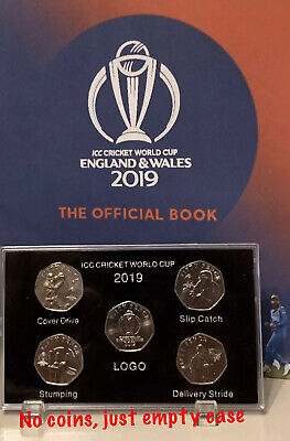 10 X 2019 Isle of Man ICC Cricket World Cup 50p coin Display Case (NO COIN)