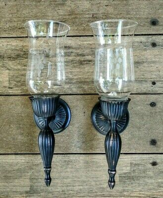 Wall Candle Sconces w Glass Globes Brass Black Bronze Painted Etched Hurricanes