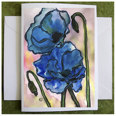 Blue Poppies Hand-painted Flower Watercolor Note Card Original Poppy Painting