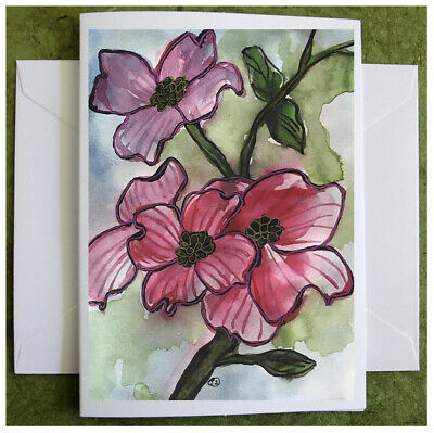 Pink Dogwood Flowers Hand Painted Watercolor Note Card Original
