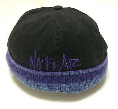 No Fear Snapback Hat Vintage 1990s Made In USA Brimless Beanie Beach Surf Skate