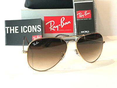 Ray-Ban Aviator Rayban Gradient Brown Lens Gold Frame Rb 3025 Size 58 Sunglasses