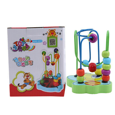 Children Kids Baby Colorful Wooden Mini Around Beads Educational Game Toy New
