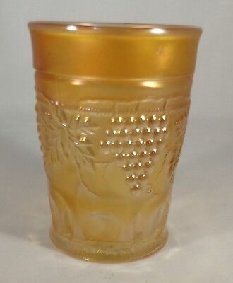 "1900's Carnival Glass Northwood Marked Grape & Cable Tumbler Marigold 4"" Tall"