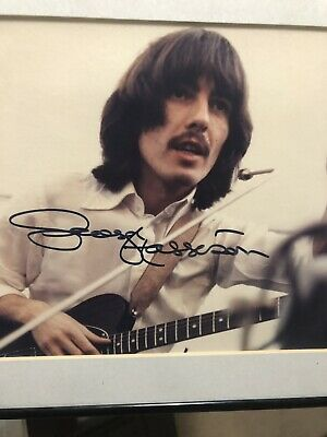 The Beatles GEORGE HARRISON Signed Autographed Picture. Very Rare. 8x10 framed.