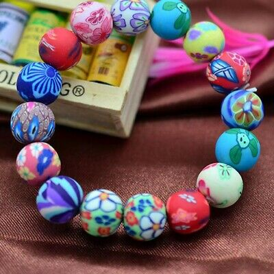 Women Fashion Polymer Clay Flower Colorful Round Beads Bracelet Gift Hot Sale
