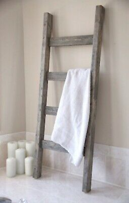 Rustic Weathered 7 Foot Wood Blanket Quilt Towel Ladder Farmhouse Urban Country