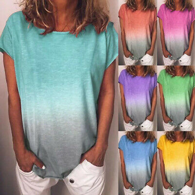 Women Gradient Color Crew Neck Tops Short Sleeve Casual Loose Blouses Tee Shirts