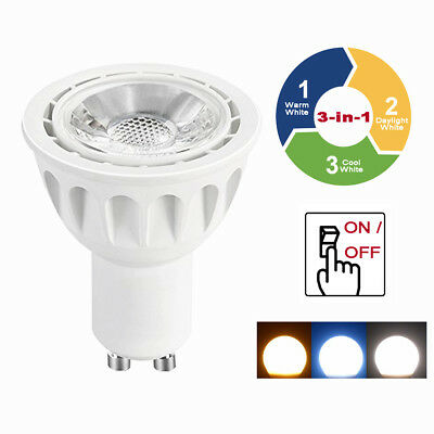 GU10 6W 3 en 1 Cambia de Color Cálido / Luz Natural/Blanco Frío LED Foco