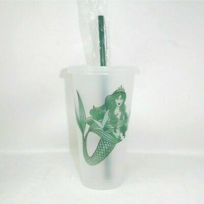 Starbucks Siren Mermaid Reusable Frosted Plastic Cold Cup Tumbler Venti 24 oz