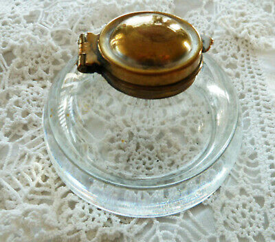 Vintage Glass Inkwell Brass Hinged Lid Ink Pot Clear Desktop Desk Bottle Patina