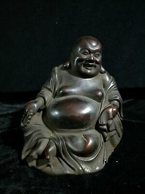 """9"""" Chinese old antique red copper Sitting big belly Maitreya Buddha statue H2"""