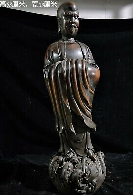 """28"""" Chinese old antique red copper Sitting Lohan character statue"""