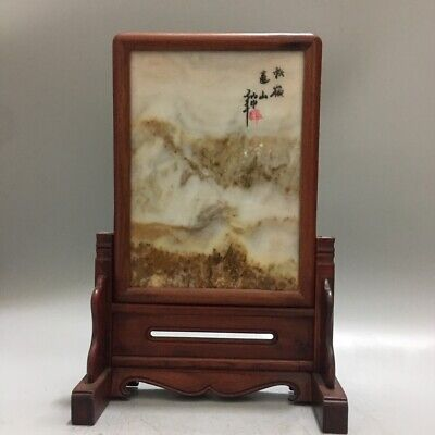 """11"""" Chinese Old antique wood inlay jade stone handmade screen statue G3"""