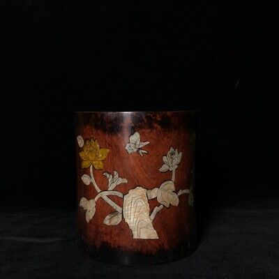 """6"""" Chinese old antique huanghuali wooden Mosaic shells handcarved pen pot statue"""