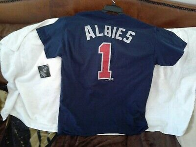 best authentic 9ffde 22cde NEW OZZIE ALBIES Atlanta Braves Men's Mitchell & Ness Red ...