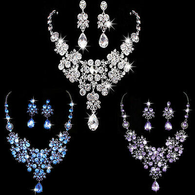 New Bridal Wedding Prom Jewellery Rhinestone Crystal Necklace Earrings Set Sunny