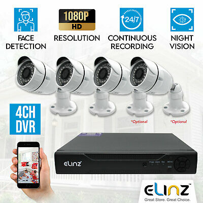 CCTV Security Camera System 1080P AHD 5MP DVR Face Detection Outdoor Video 4CH