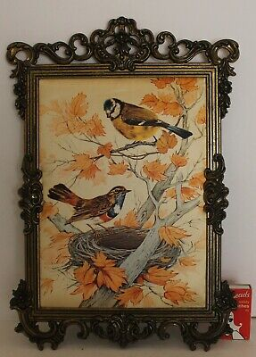 Vintage Birds Picture Ornate Brass Frame Autumn Colours Made Italy No Glass 32cm
