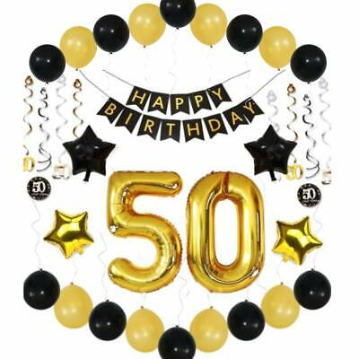 Gold 50th Birthday Decorations Giant Pack Of 36
