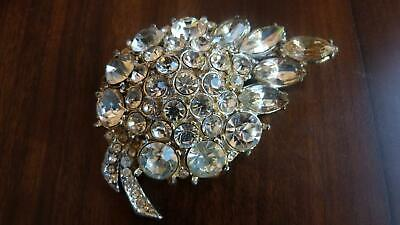 Huge Vintage Art Deco Rhinestone Brooch - Spectacular - Leaf Form