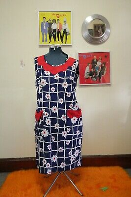 Vintage shift dress, retro, floral, blue, 60s, 70s, plus size