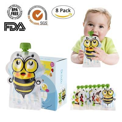 8 Pack Double Zipper 150ml Reusable Squeeze Pouches Refillable Baby Food Pouch