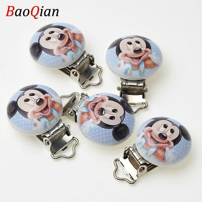 5Pcs Metal Wooden lovely Mouse Baby Pacifier Clips Holders Cute Infant Soothe…