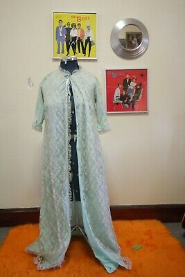 Vintage night gown, 60s, 70s, retro, blue,  lace, nighty