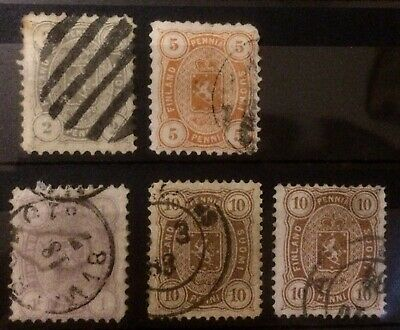 Finlandia 1880 Stock Stamps Lotto Quotato Non Comuni Valori Cote 365€ Bello