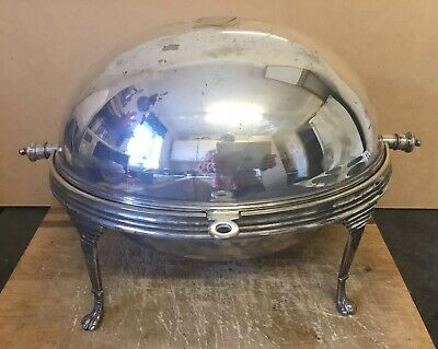 Antique Silver Plate Roll Dome Top Breakfast Warmer Server