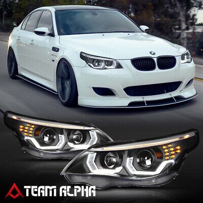 Fits 2004-2007 BMW E60 <DUAL 3D HALO/LED SIGNAL/DRL> Black Projector Headlight