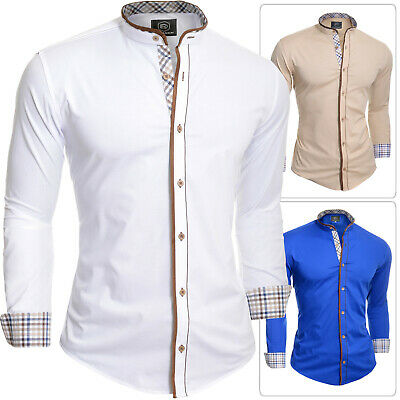 Mens Grandad Collar Shirt Check Suede Elbow Patches Slim Fit Stretchy Cotton New
