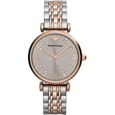 New Armani Ar1840 Womens Gianni T-Bar Watch Rose Gold Strap Dial Rrp £369.00