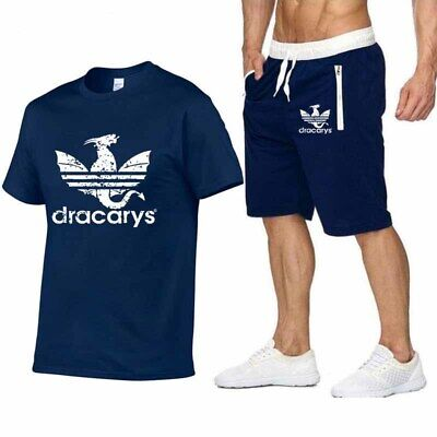 Mens Gym Short Sleeve T Shirts Shorts Athletic Tracksuit Sweatpants Sweatshirt