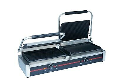 Sher Commercial Electric Double Contact Grill Grooved Panini Press Toaster